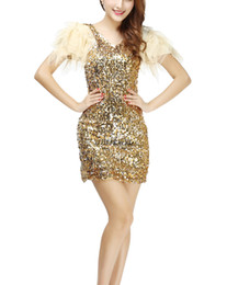 Wholesale Pure Gold Clubs - Gold Diggers Sparkle V Neck Mini Lace Sequin Pure Nightclub Showgirl Fancy Las Vegas Clubs Dress Costume Wear Short Sleeve