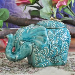 Wholesale ceramic statues - Wholesale- Classical Ceramics Elephant Statue Storage Jar Decorative Household Porcelain Organizer Canister Ornament Craft Accessories
