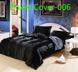 Wholesale Blue Pink Quilt - BLuxury Brandl Black white red blue pink satin silk 1pcs Duvet Cover Quilt Cover bedding Home Textile Twin Full Queen King size Wholesale