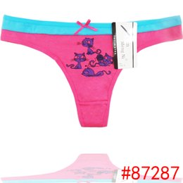 Wholesale Cute G Strings - Cute Cat cotton thong cheeky lady panties sexy women underwear lady g-string women t-back sexy intiamte lingerie underpant retail wholesale