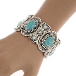 Wholesale Vintage Lucite Bangle Bracelet - 1PC Free Shipping Brand New Classical Women's Retro Vintage Natural Turquoise Cute Tibet Silver Bracelet & Bangel [JB06259*1]