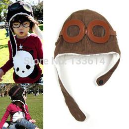 Wholesale Black Pilot Cap - Free Shipping Baby Toddler Boy Girl Kids Pilot Aviator Cap Fleece Warm Hats Earflap Beanie Drop Shipping