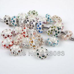 Wholesale European Rhinestone Spacers - Wholesale-Wholesale 100pcs lot Mixed Colors Rhinestone Rondelle Metal Spacers Big Hole Charm Beads For European Bracelet 6x11mm 010002