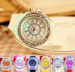 Wholesale Womens Watches Digital - Led Luminous Diamond Watch Fashion Silicone Diamond Rhinestone Watch Geneva Colorful Lights For Men Womens Quartz Wristwatch Christmas Gift