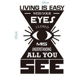 Wholesale Eye Stickers Wall Mural - Cartoon Eye Wall Quote Decal Sticker Living is easy with your eyes closed misunderstanding all you Classic Eye Mural Decor Poster