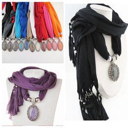 Wholesale Free Stone Peach - FreeDHL Women Scarf Alloy stone Pendant Scarf New Design Style Ladies' Scarfs Necklace Scarfs Jewelry Free Shipping E88L