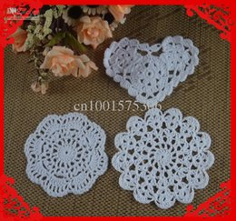 Wholesale Free Crochet Doilies - Free Shipping Wholesale Heart Shaped Round Crochet pattern Doily hand made Crochet cup mat White, Red, Pink, 10-12CM 30pcs LOT aa3h55
