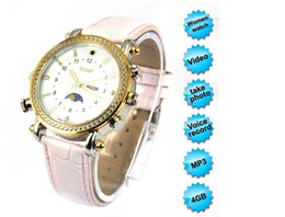 Wholesale Ladies Spy Camera - Free shipping 16gb mini dvr camera Lady Style Watch spy watch camera with mp3 function and waterproof function