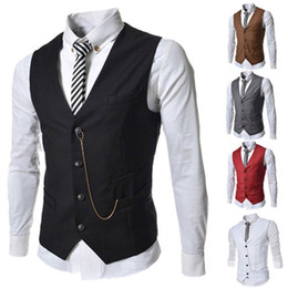 Wholesale Men Blend Jacket Red - free shipping Men Vests Outerwear Casual Suits Slim Fit Stylish Short Coats Suit Blazer Jackets Korean wedding Mens V-neck vest