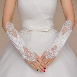 Wholesale Sexy Wedding Gloves - 2017 sexy elegant cheap long sleeves bridal gloves with lace appliqués for mermaid wedding fast shipping