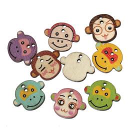 boutons de singe Promotion Bouton de couture en bois Singe de scrapbooking sur deux trous aléatoires de 22,0 mm (7/8
