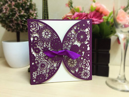 Wholesale Lace Wedding Invitations Cards - Lace Hollow Wedding Invitations Card Personalized Butterfly Cards with Pierced Card Inner Sheet Envelope 15*15CM Purple Beige Color IC1
