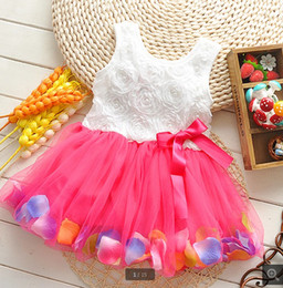 Wholesale Toddler Floral Lace Dress - Summer Toddler Girls Dress Rose Flower Colorful petals Gauze Baby Tutu Dresses Sleeveless Kids Vest Princess Dress 2015 Costumes TR101
