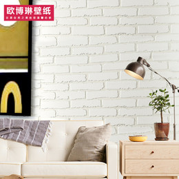 Wholesale Black White 3d Wallpaper - Wholesale- White brick wallpaper self adhesive non woven 3d bricklike wall papers tv wall background