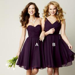 Wholesale Short Lace Purple Wedding Dress - Chiffon Ball Gown Sweetheart Pleated Short Bridesmaid Dress Grape Purple 2016 Party Dress For Wedding Lace Up