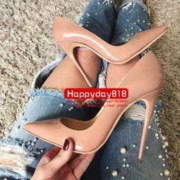 Wholesale Women New Sexy Nude - Free shipping fee new style sexy Lady Nude patent leather point toe high heels shoes boots pumps 120mm 100mm genuine leather
