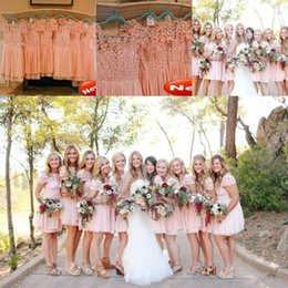 Wholesale Light Coral Pink Dress - 2015 New Arrival Bridesmaid Dress Blush Pink Coral Short Lace Applique Chiffon Cheap Brides maid Dress Free Shipping