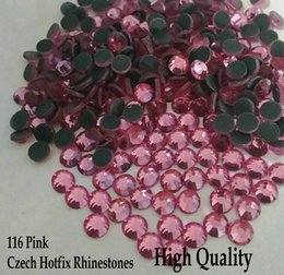 Wholesale Hot Pink Hotfix Rhinestones - 116 Pink Flatback Hot fix Strass SS6 SS10 SS16 SS2 SS30 Czech Hotfix Rhinestones For Wedding Dress Accessories