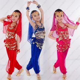 Wholesale Kids Indian Dance Costumes - New Handmade Children Belly Dance Costumes Kids Belly Dancing Girls Bollywood Indian Performance Cloth Whole Set 6 Colors Free shipping