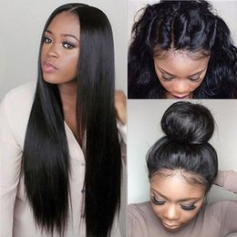 Wholesale Glueless Lace Wig Bleached Knots - Full Lace Human Hair Wig Silky Straight Malaysian Virgin Hair Pre-plucked Hairline With Baby Hair Lace Front Wig Glueless Bleached Knots