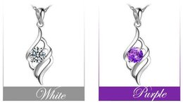 Wholesale Amethyst Wings - 925 Sterling Silver Crystal Amethyst Classical Angel Wings Pendant For Necklace