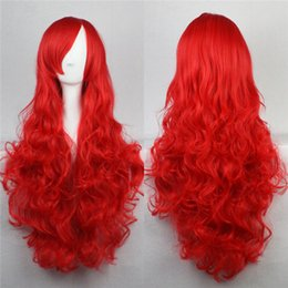 Wholesale Long Curly Red Orange Wig - long wavy women wig black red pink blue yellow orange pueple wig cosplay 80 cm synthetic hair wigs