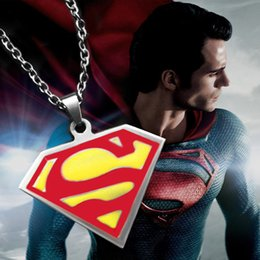 Wholesale Badge Chain Necklace - Hero Superman necklace red S mark pendant necklaces hero Super man logo Badge charm necklaces unisex link chain movie jewelry 160569