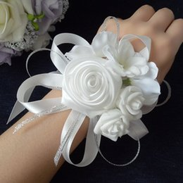 Wholesale Hand Bouquets - 10pcs Lot High Quality Tiffany Blue Wedding Wrist Hand Flowers Bride Bridesmaids Wrist Corsages Groom Corsages Boutonniere White