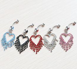 Anéis umbigo coração coração on-line-Estilo do coração do diamante simulado borlas anel umbigo jóia do corpo JF14-347 piercing jóias piercing no umbigo