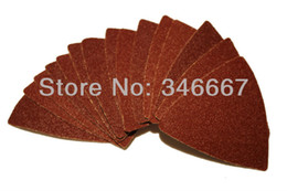 Wholesale Wholesale Oscillating Tool Blades - 15 pcs lot sand paper disc Triangle sanding paper accessories for renovator oscillating tool saw blades oscillating tools