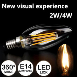 Wholesale Design Candles - New Design New Visual Experience 2W 4W E14 220V 240V AC LED Filament Candle Bulbs CRI 90 360 Degree Free shipping