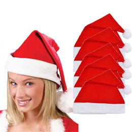 Wholesale Plastic Heart Ornament - Stylish Hot 5x Adult Unisex Adult Xmas Red Cap Santa Novelty Hat for Christmas Party accessories Decoration