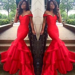 Wholesale Tube Long Gown - red tube plus size arabic gowns long mermaid off the shoulder sleeves ruffle prom dresses 2017 plus size