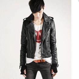 Wholesale Leather Jacket Men Wholesale - Wholesale- Men Leather Coat - Hot Sale Korean Version Of The Korean Version Of The Leather Jacket Jacket Slim Pu Leather #1571064