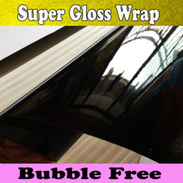 Wholesale Car Vinyl Film Wrapping - High Glossy Black Vinyl Wrap Car Wrap with Air Bubble Shiny Black Vinyl Super Gloss Film Wrapping Piano black Glossy Wrap Size 1.52x30m Roll