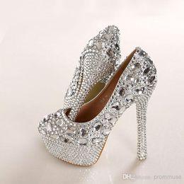 Wholesale Diamond White Bridal Shoes - Luxury Crystal Diamond Wedding Shoes High-heeled Shoes Bridal Shoes Waterproof Shoes Nightclub Performances Shoes EM00536