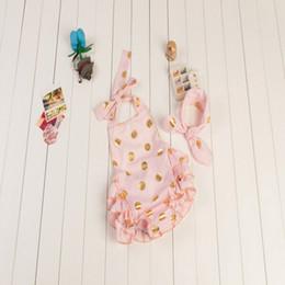 Romper rosa de ouro on-line-Rosa e bolinhas de ouro Romper da bolha, Romper com nó headband set, verão bebê bolha Romper, presente de aniversário para crianças