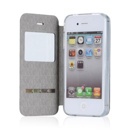 Wholesale Iphone4 Smart Cases - Wholesale-For Apple iPhone 4 Smart Front View Window For iPhone4 4S Case PU Leather Flip Cover With Magent Sliding Answer Call Phone Cases