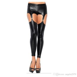 Wholesale Sexy Latex Garters - Black Latex Thigh High Sexy Stockings with Garter Belt Suspender Gothic Fitness Faux Leather Latex Leggings Wet Look Fetish Wear X6608