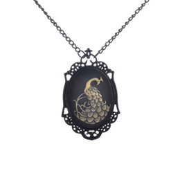 Wholesale Kawaii Jewelry - Peacock Cameo Necklace Peacock Pendant Necklace Renaissance Gothic Jewelry Bird Cameo Pendant Gothic Cameo Kawaii Jewelry