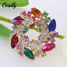 Wholesale Christmas Pins For Cheap - 14K Golf Plated CZ Colorful Crystal Brooches Pins Flower Rhinestone Bouquet Brooches Flower for Christmas Gift Cheap