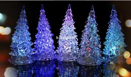 Wholesale Crystal Christmas Boxes - 20pcs lot Christmas Tree LED Night Light Nightllight Halloween Gifts Crystal Lamp Lighting Changeable Colors +box free ship