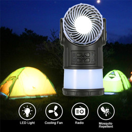 Wholesale Emergency Radios - New Camping Lantern Tent Light Lamp with Fan FM Radio Mosquito Repellent Rechargeable Flashlight for Fishing Hiking and Emergency wholesale