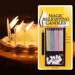 Wholesale candle birthday party favors - Magic Relighting Candles Birthday Party Screw Color Cake Candles Art Decoration Festive Favors for Sale SD950