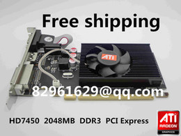 Wholesale graphics cards radeon - Wholesale-Free Shipping 100% New Radeon HD7450 2g 2048m half-height graphics card vga card knife card pk hd6450 HD6350 gt520 gt610 gt210