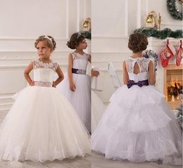 Wholesale Girls Black Top Bow - 2017 Flower Girl Dresses Real Photos with Keyhole Back and Lace Top and Puffy Princess Skirt