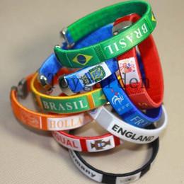 Wholesale Plastic Souvenirs - Free Shipping 30pcs NEW Soccer Souvenir Fiber Bracelet Bangle adjustable Wristband Wristlet