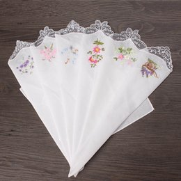 Wholesale Lace Hankies - Vintage Cotton Women Hankies Embroidered Butterfly Lace Flower Hanky Floral Assorted Cloth Ladies Handkerchief Fabrics