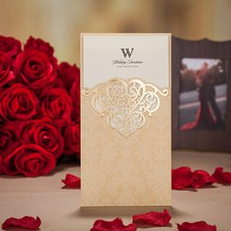 Wholesale Three Fold Wedding Invitations - HandCraft Gold Color Wedding Invitations Creative Wedding Cards Customize Print Photo and Map Invitation Card Three Folded