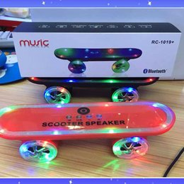 Wholesale Portable Speaker Design - 2016 Super Cool Skateboard Scooter Design Bluetooth Mini Wireless Speaker with Colorful LED Light FM Radio MP3 Music Players DHL Free MIS124